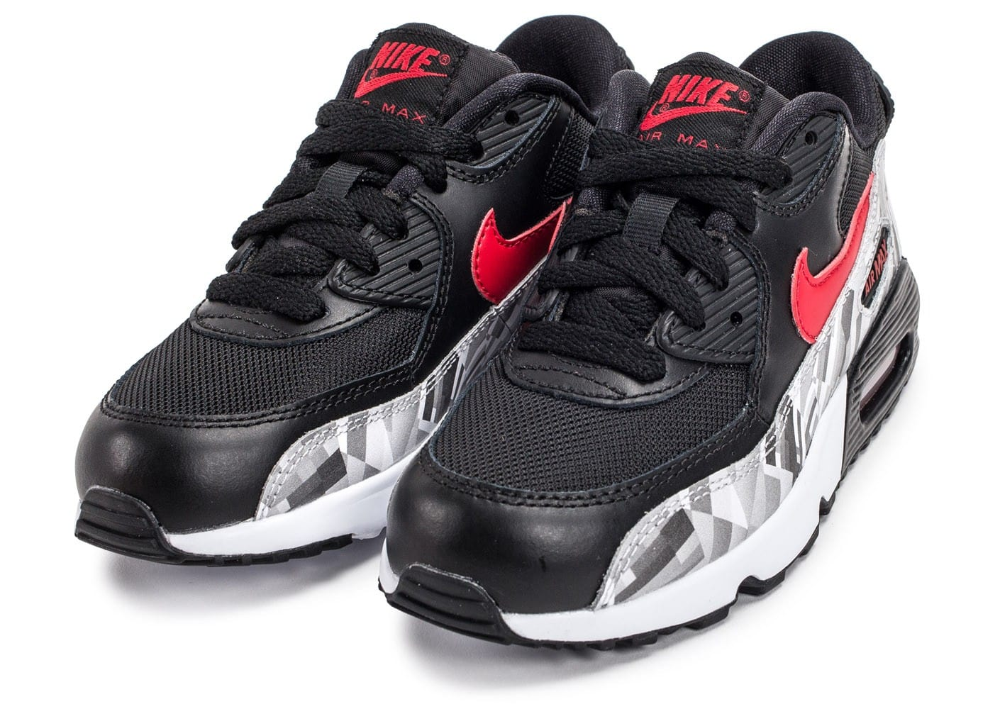 nike air max 90 mesh enfant noir et rouge chaussures enfant chausport. Black Bedroom Furniture Sets. Home Design Ideas