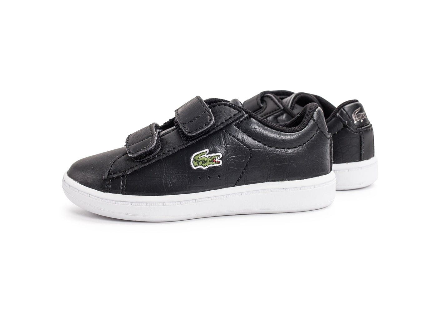 Lacoste carnaby evo b b noire et blanche chaussures - Lacoste carnaby evo cls baskets en cuir perfore ...
