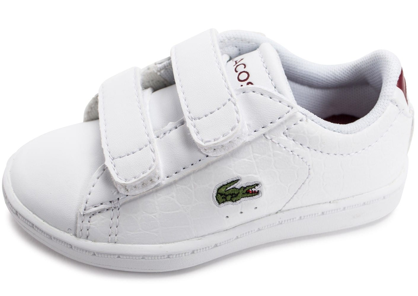 Lacoste carnaby evo b b blanche et rouge chaussures - Lacoste carnaby evo cls baskets en cuir perfore ...