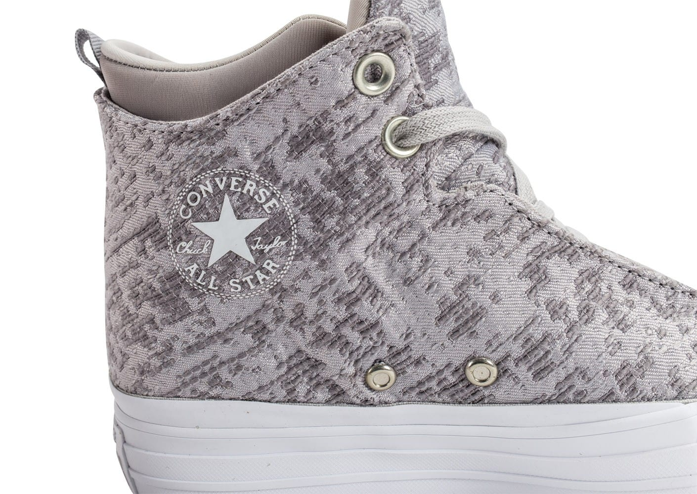 Chaussures Converse Chuck Taylor All Star 2 Selene Winter Knit grise vue dessus