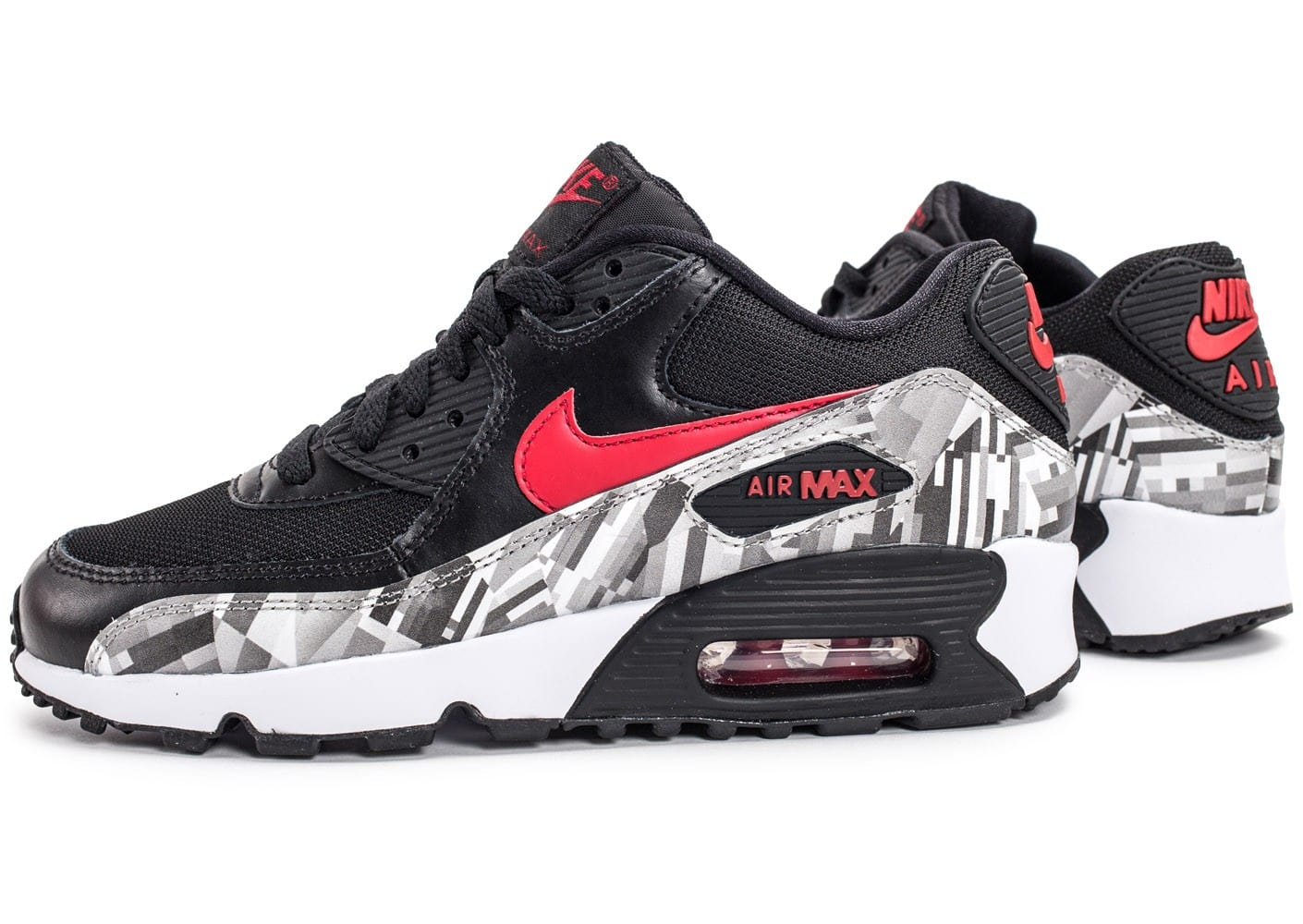 best cheap ad054 6b613 chaussures nike air max 90 print junior noir et rouge vue par paire