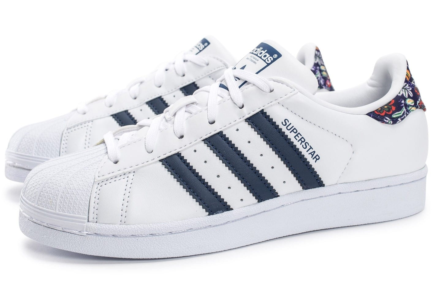 adidas superstar farm company blanche et bleu marine chaussures adidas chausport. Black Bedroom Furniture Sets. Home Design Ideas