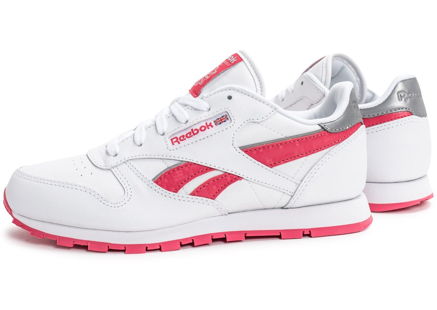 reebok classic leather reflect junior blanche et rose chaussures femme chausport. Black Bedroom Furniture Sets. Home Design Ideas