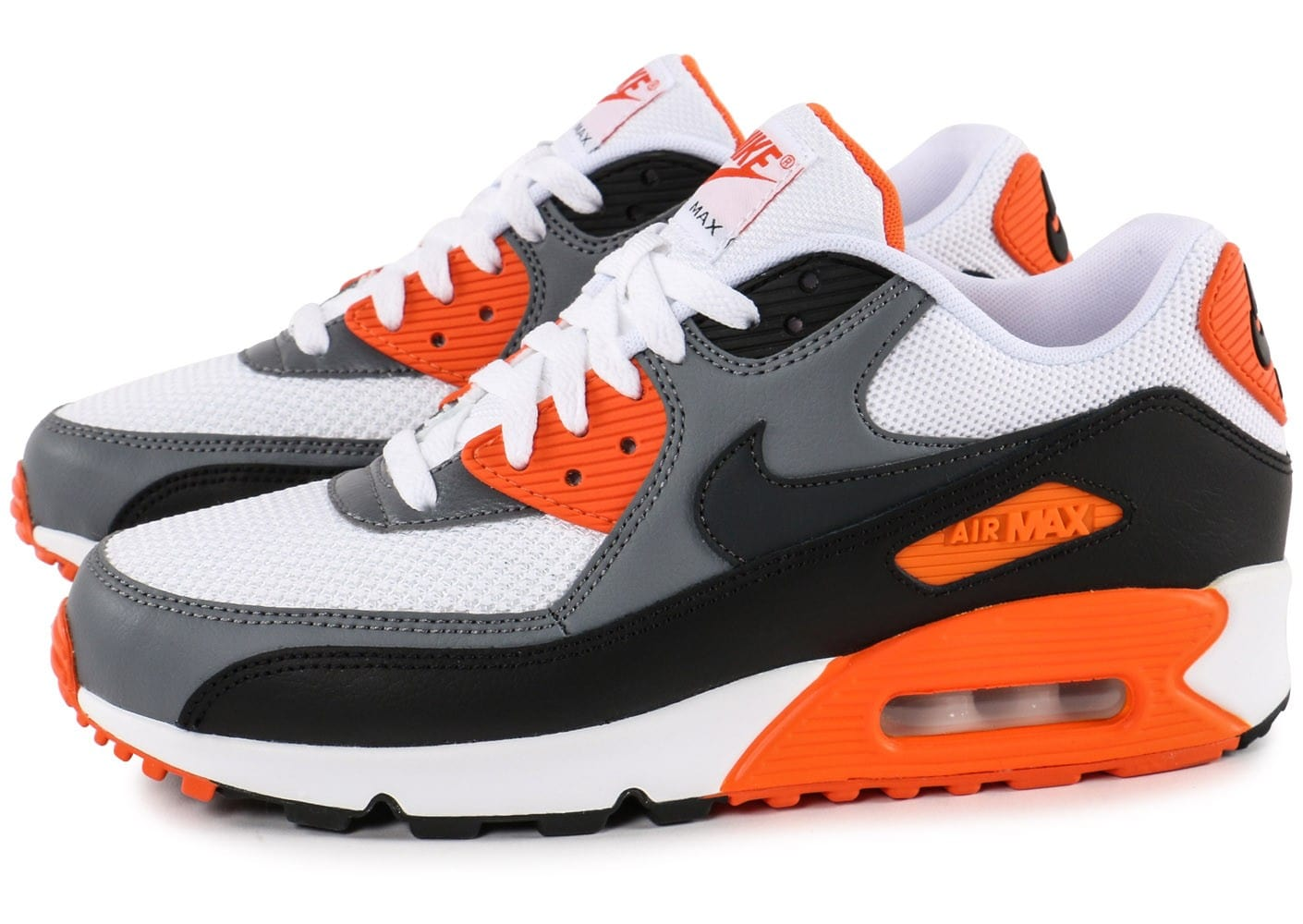 nike air max 90 essential blanc orange chaussures baskets homme chausport. Black Bedroom Furniture Sets. Home Design Ideas
