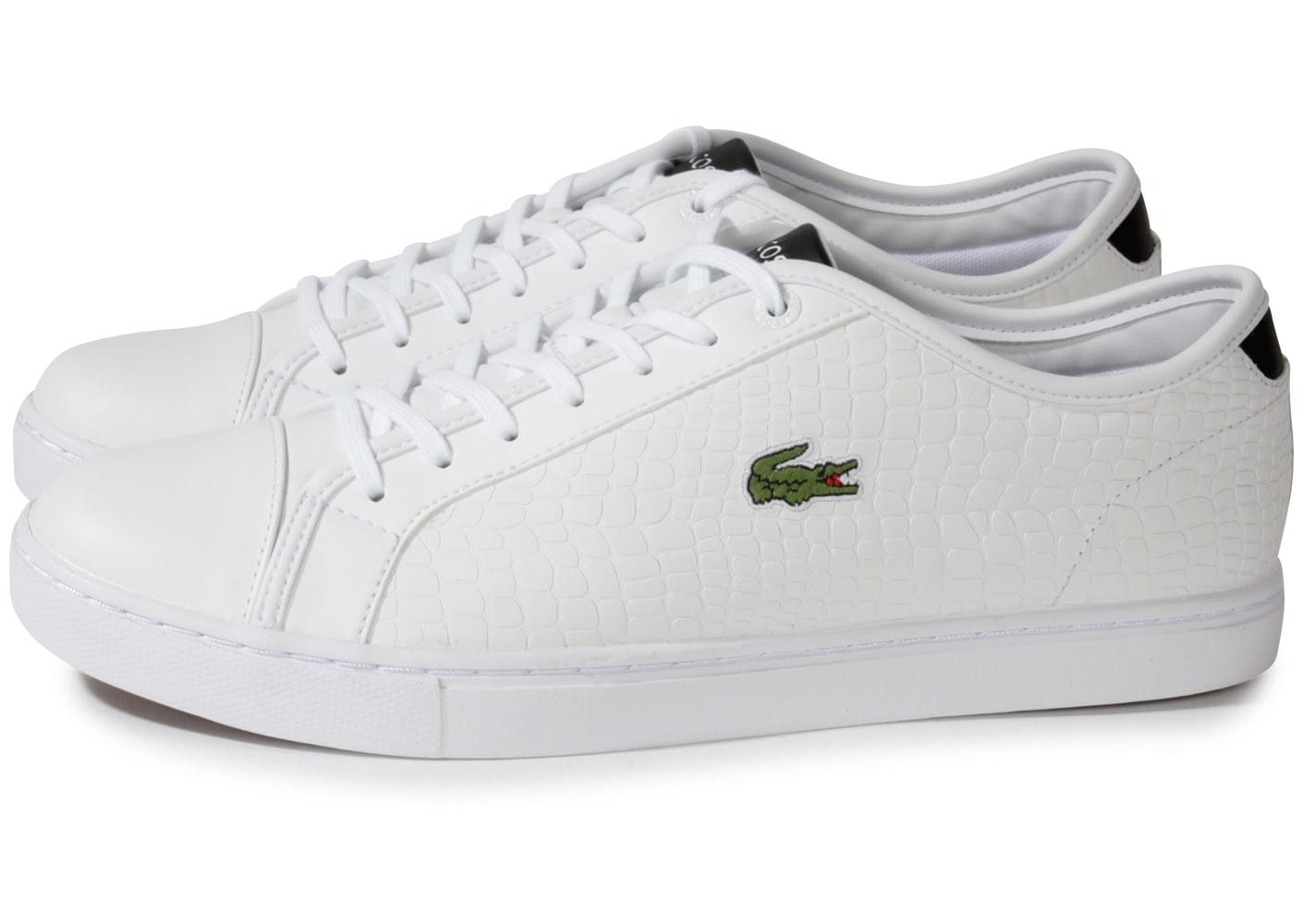 lacoste showcourt croc cuir blanc chaussures homme chausport. Black Bedroom Furniture Sets. Home Design Ideas