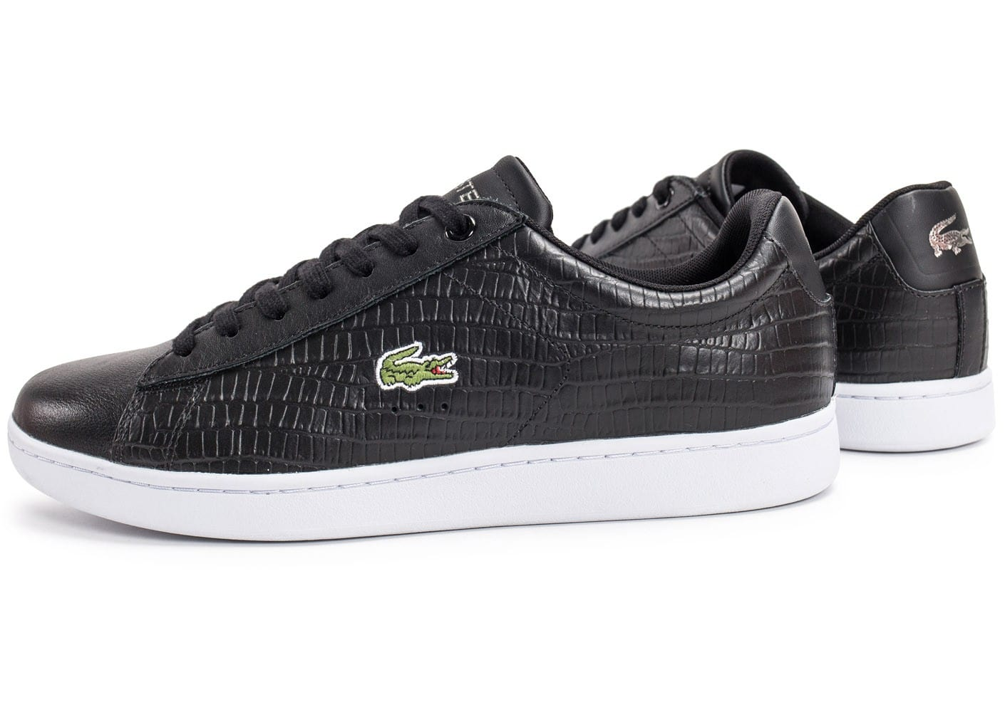 Lacoste carnaby evo croc noire chaussures homme chausport - Lacoste carnaby evo cls baskets en cuir perfore ...