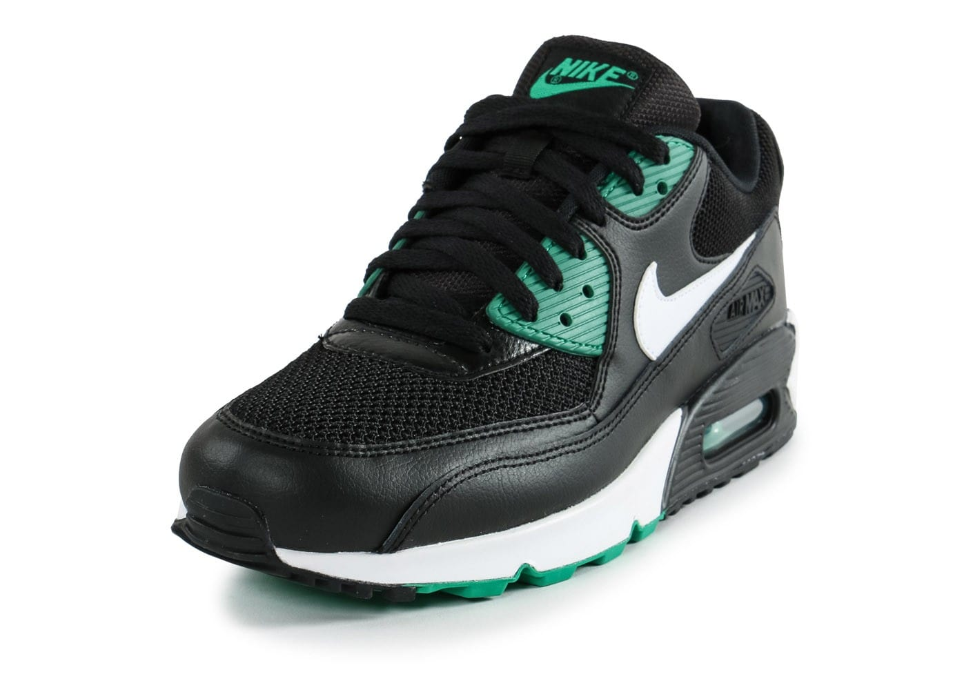 nike air max 90 essential noir vert chaussures homme chausport. Black Bedroom Furniture Sets. Home Design Ideas