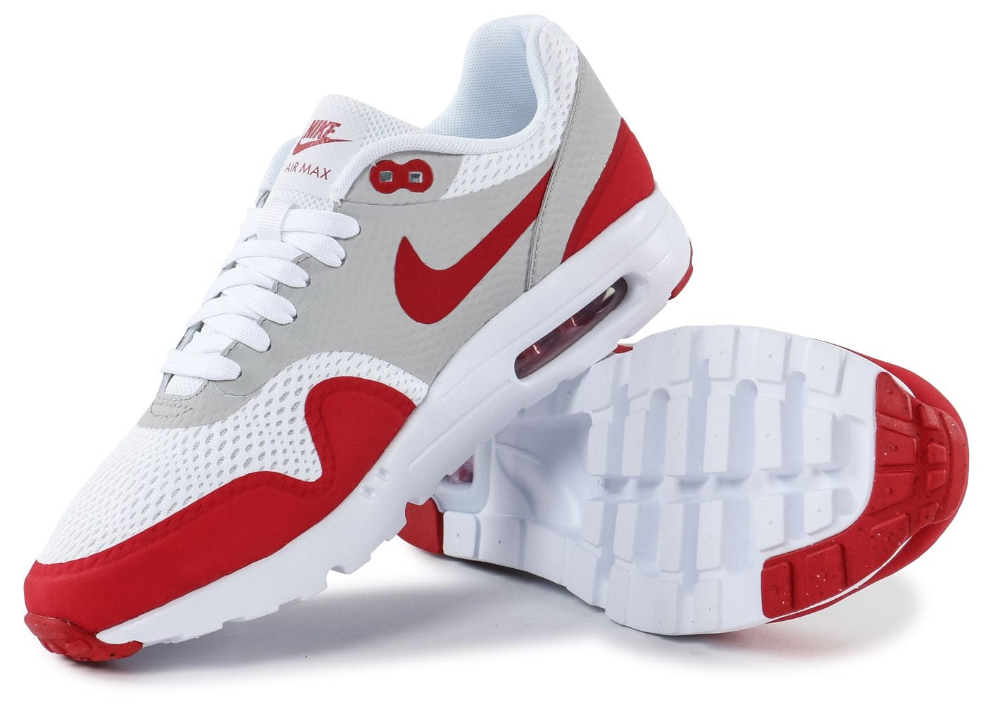 nike air max 1 ultra essential blanc rouge chaussures homme chausport. Black Bedroom Furniture Sets. Home Design Ideas