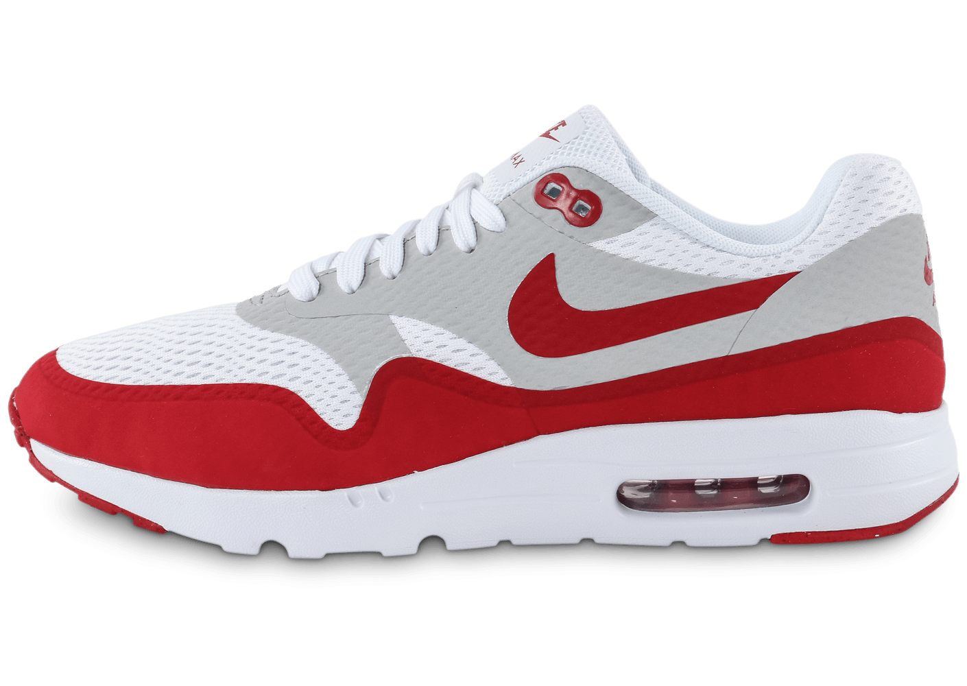 soldes nike air max 1 ultra essential blanc rouge chaussures homme chausport. Black Bedroom Furniture Sets. Home Design Ideas