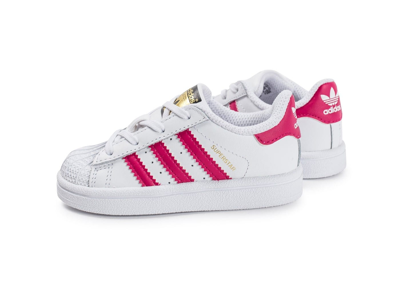 adidas superstar b b blanche et rose chaussures adidas chausport. Black Bedroom Furniture Sets. Home Design Ideas