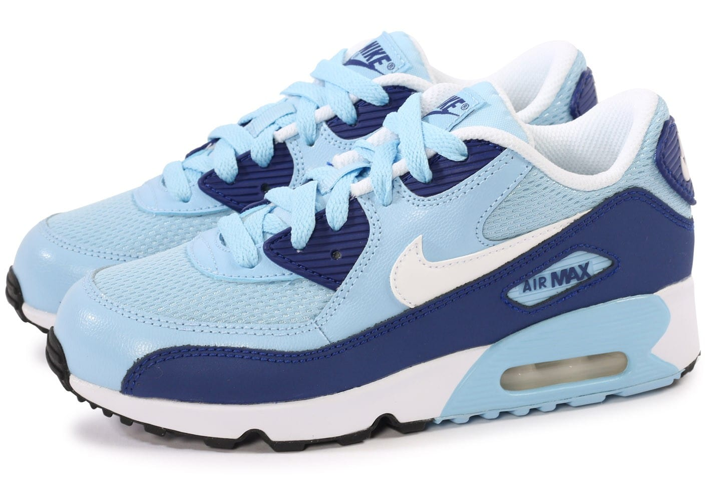 nike air max 90 mesh bleu et blanc enfant chaussures chaussures chausport. Black Bedroom Furniture Sets. Home Design Ideas