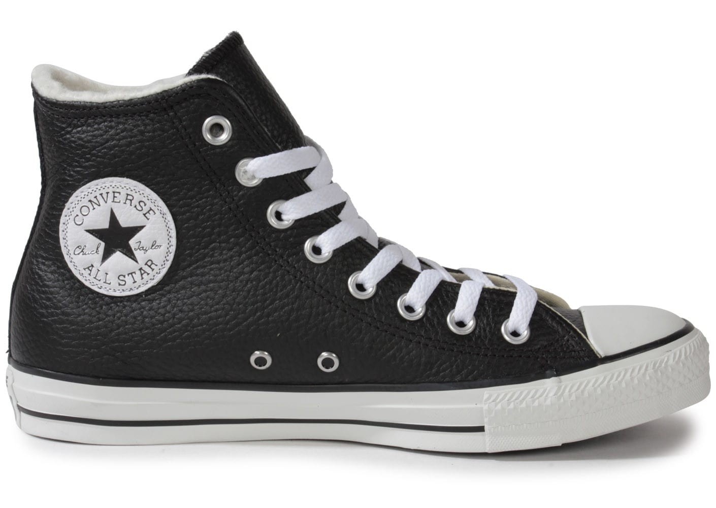 converse chuck taylor all star montante cuir noire. Black Bedroom Furniture Sets. Home Design Ideas