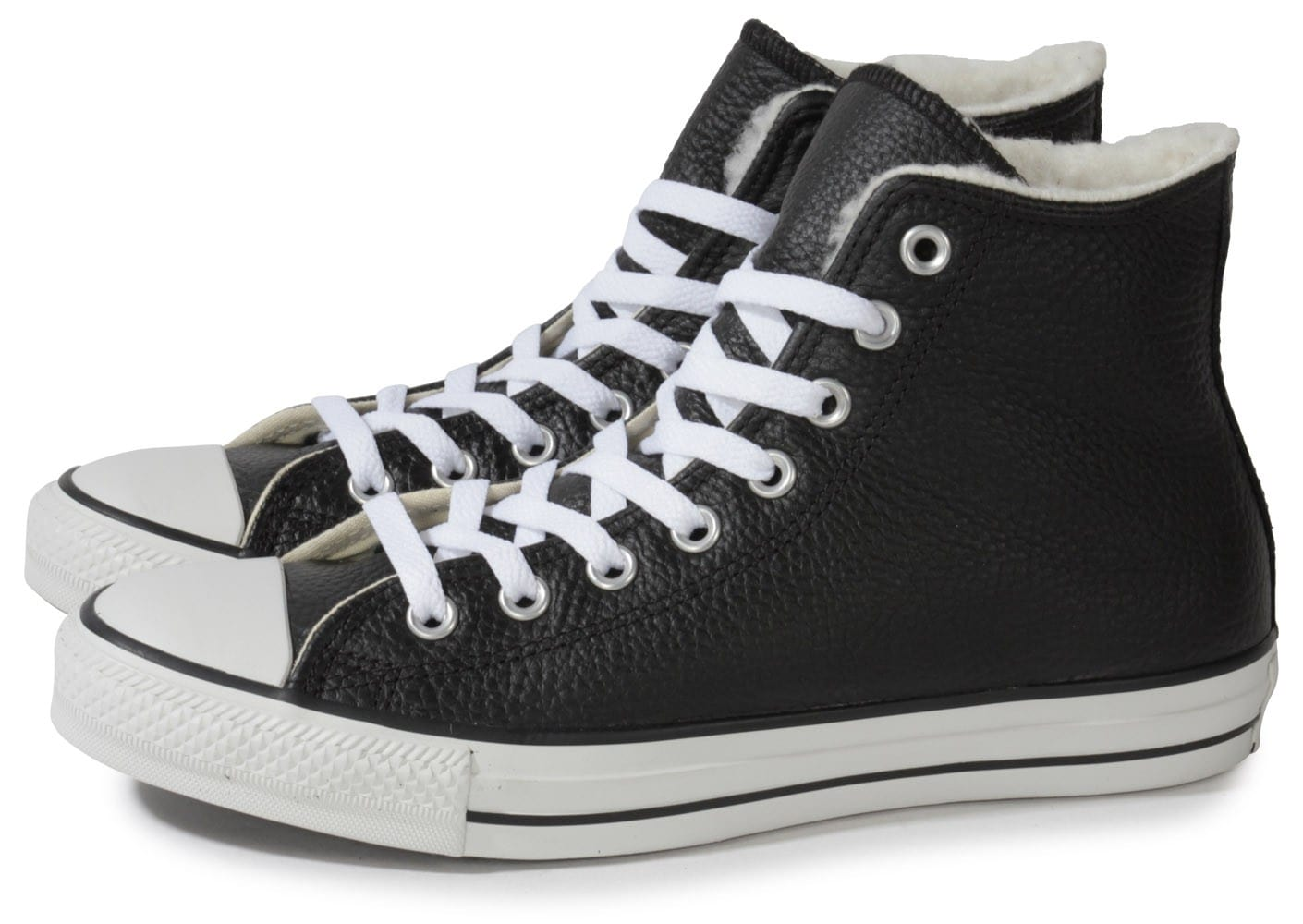 converse chuck taylor all star montante cuir noire chaussures baskets homme chausport. Black Bedroom Furniture Sets. Home Design Ideas