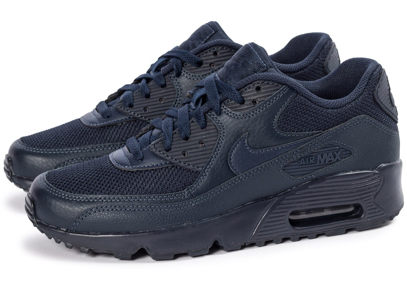new product 1adb9 561cb ... chaussures nike air max 90 mesh junior bleu marine vue par paire )