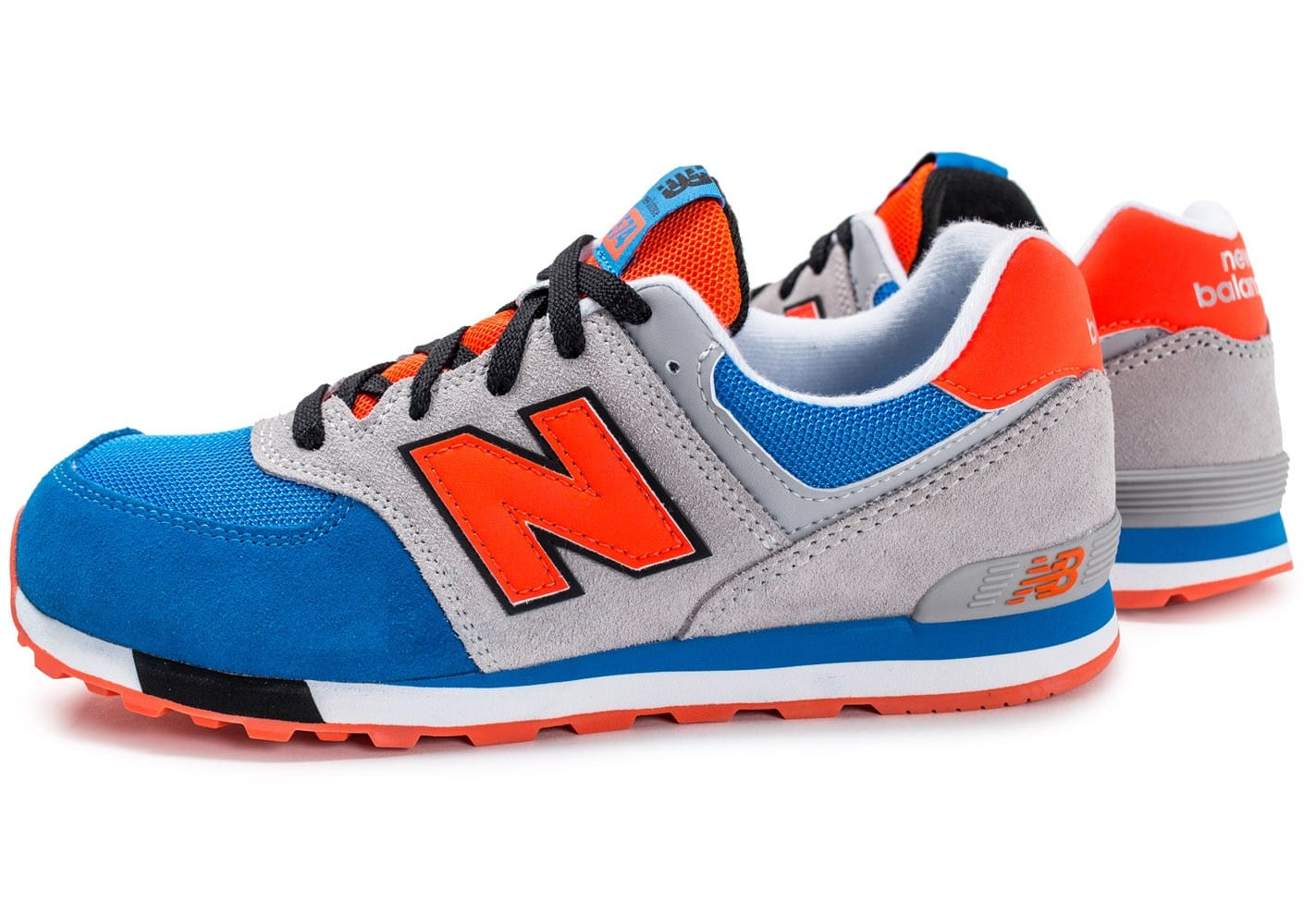 new balance kl574 grise orange et bleu chaussures toutes les baskets sold es chausport. Black Bedroom Furniture Sets. Home Design Ideas