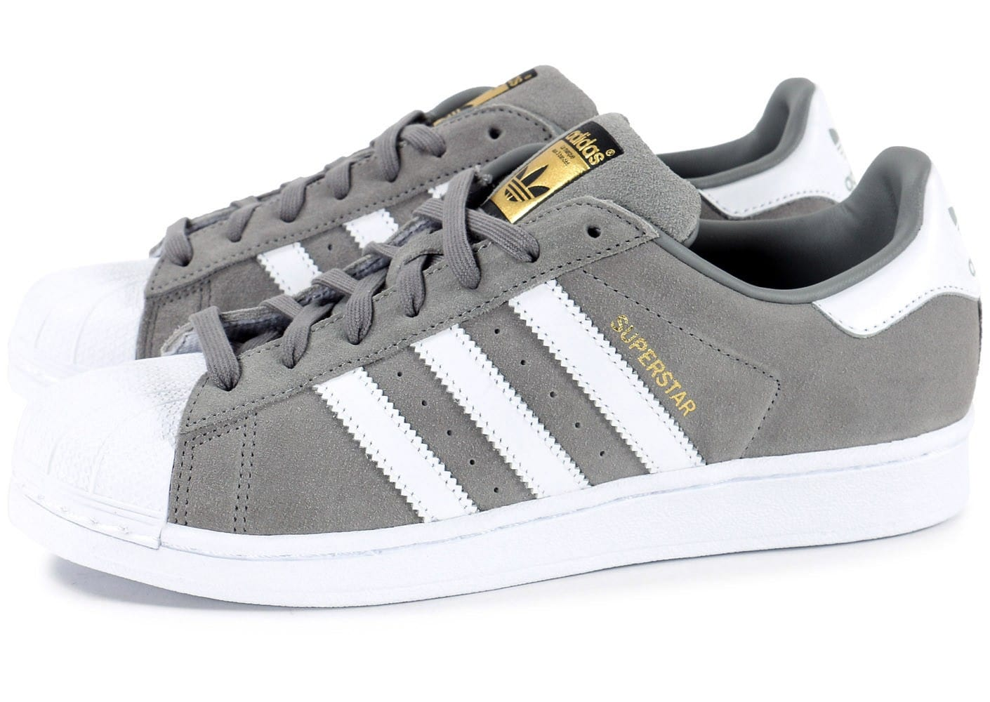 adidas superstar suede grise chaussures homme chausport. Black Bedroom Furniture Sets. Home Design Ideas