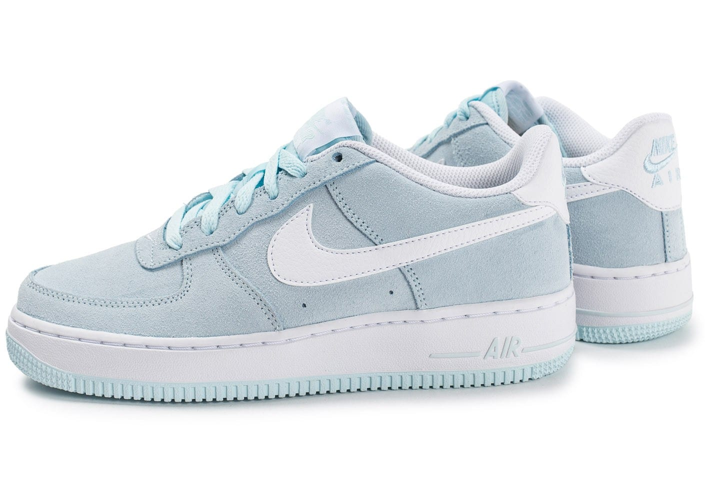 sneakers for cheap 85594 fc08c ... chaussures nike air force 1 suede junior bleu ciel vue par paire