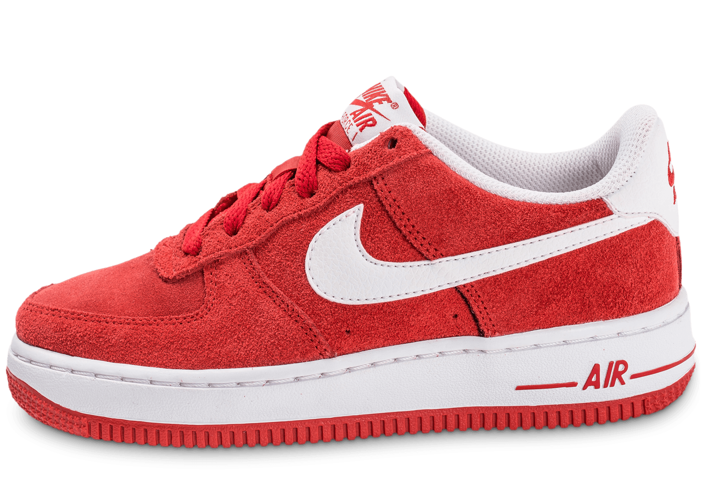 chaussures nike air force 1 suede junior rouge vue exterieure