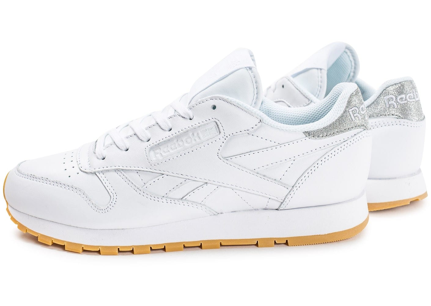 reebok classic leather diamond gum blanche chaussures femme chausport. Black Bedroom Furniture Sets. Home Design Ideas