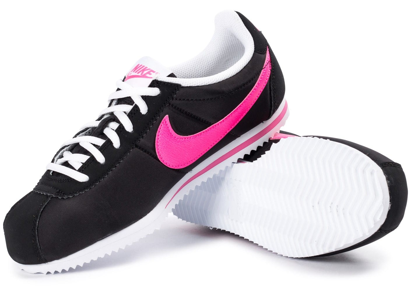 nike cortez nylon junior noire et rose chaussures black friday chausport. Black Bedroom Furniture Sets. Home Design Ideas