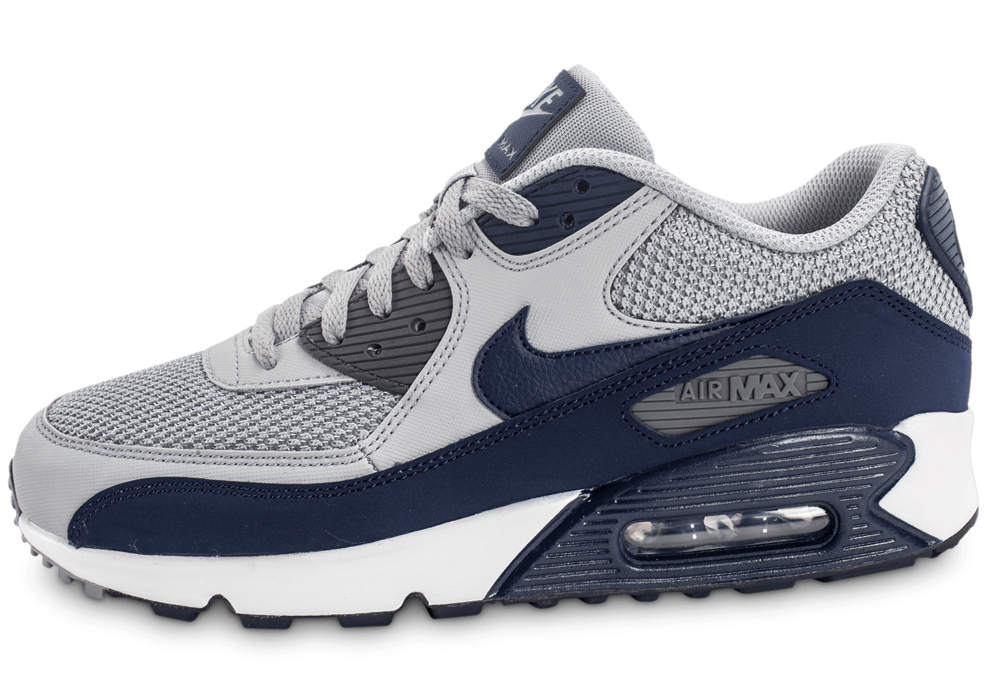 nike air max 90 essential grise et bleue chaussures homme chausport. Black Bedroom Furniture Sets. Home Design Ideas