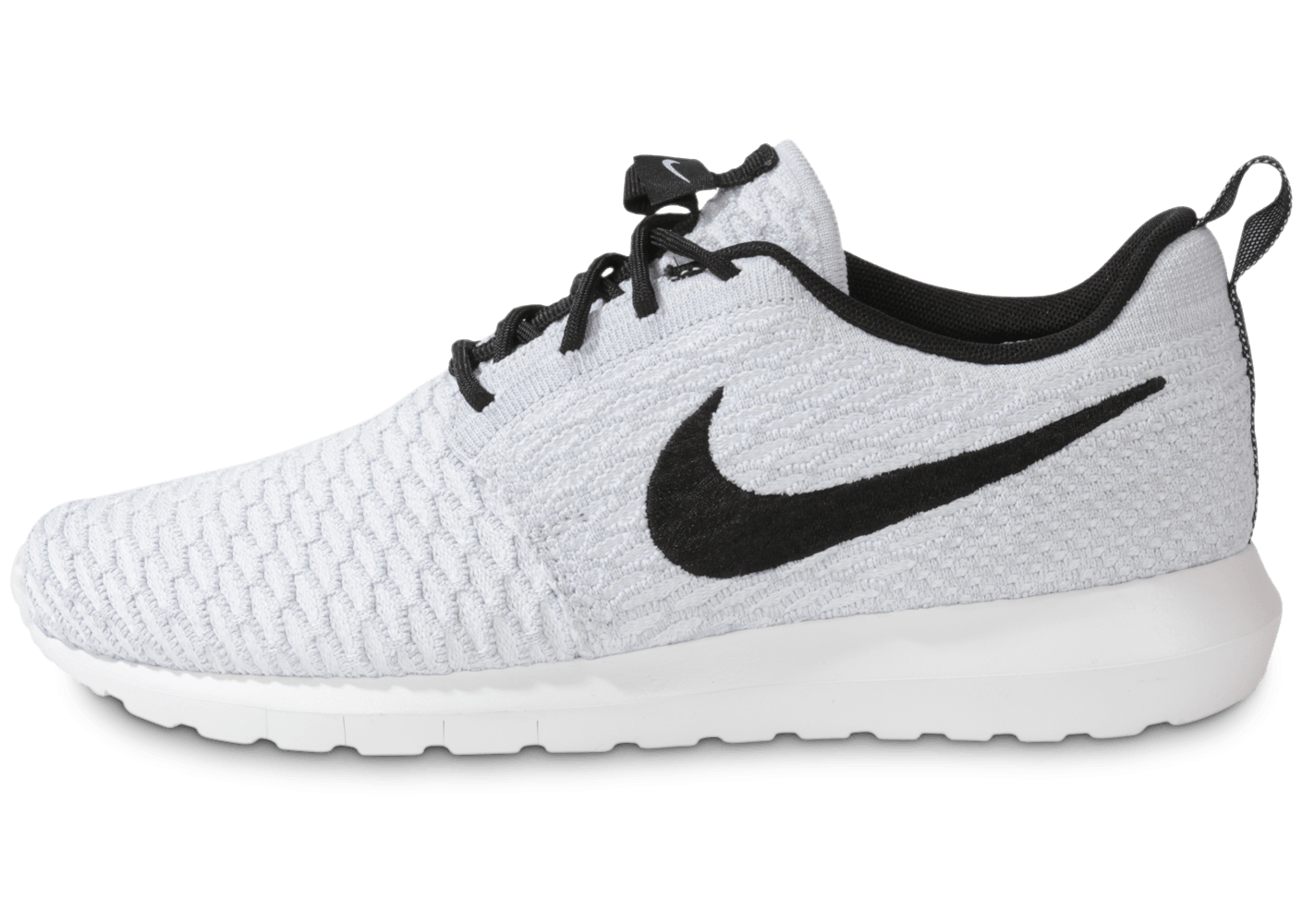 check out 2ffc9 7ec1d wholesale 1056 chaussures nike roshe run flyknit blanche vue exterieure 2  c9a35 6333f