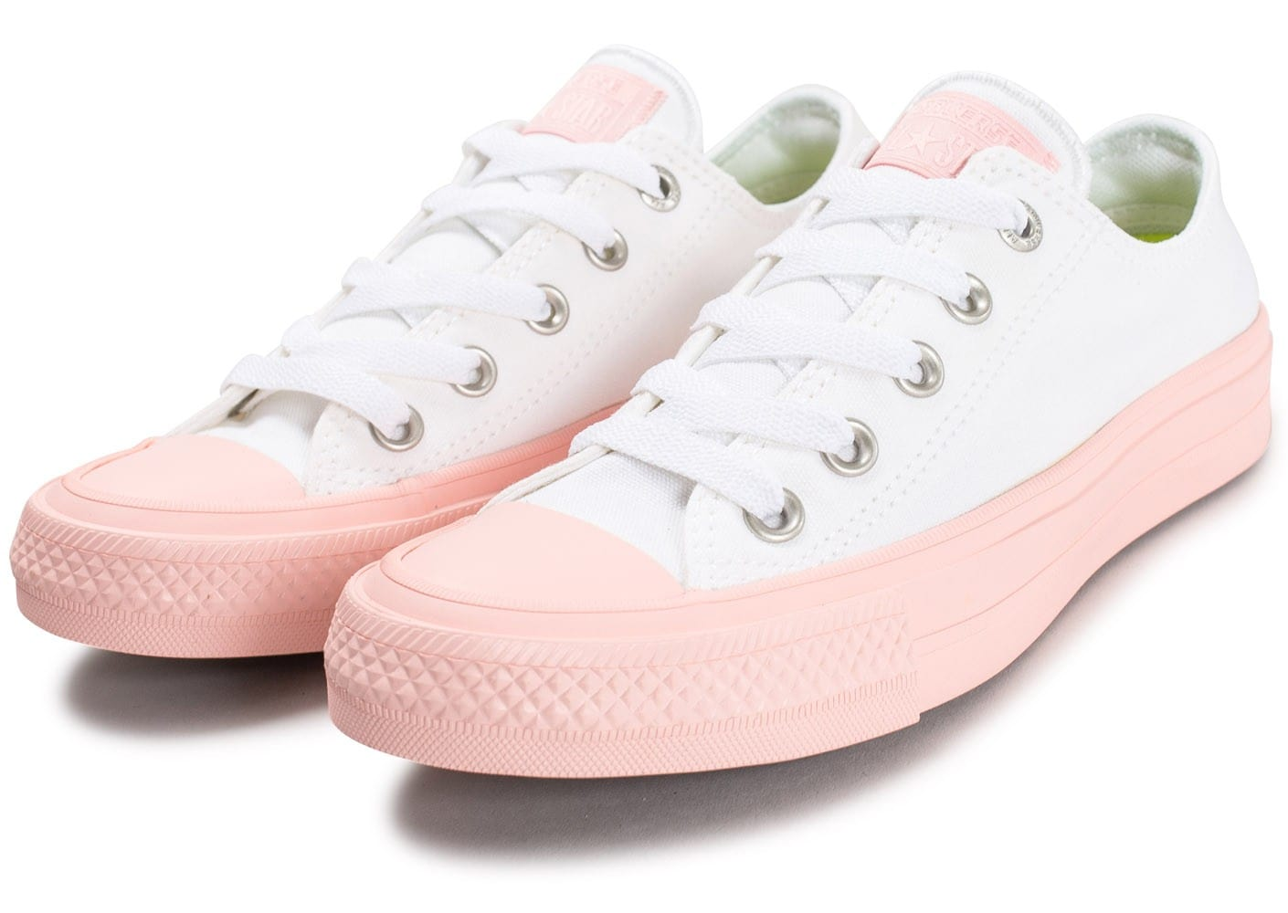 converse chuck taylor all star 2 ox w blanche et rose chaussures femme chausport. Black Bedroom Furniture Sets. Home Design Ideas