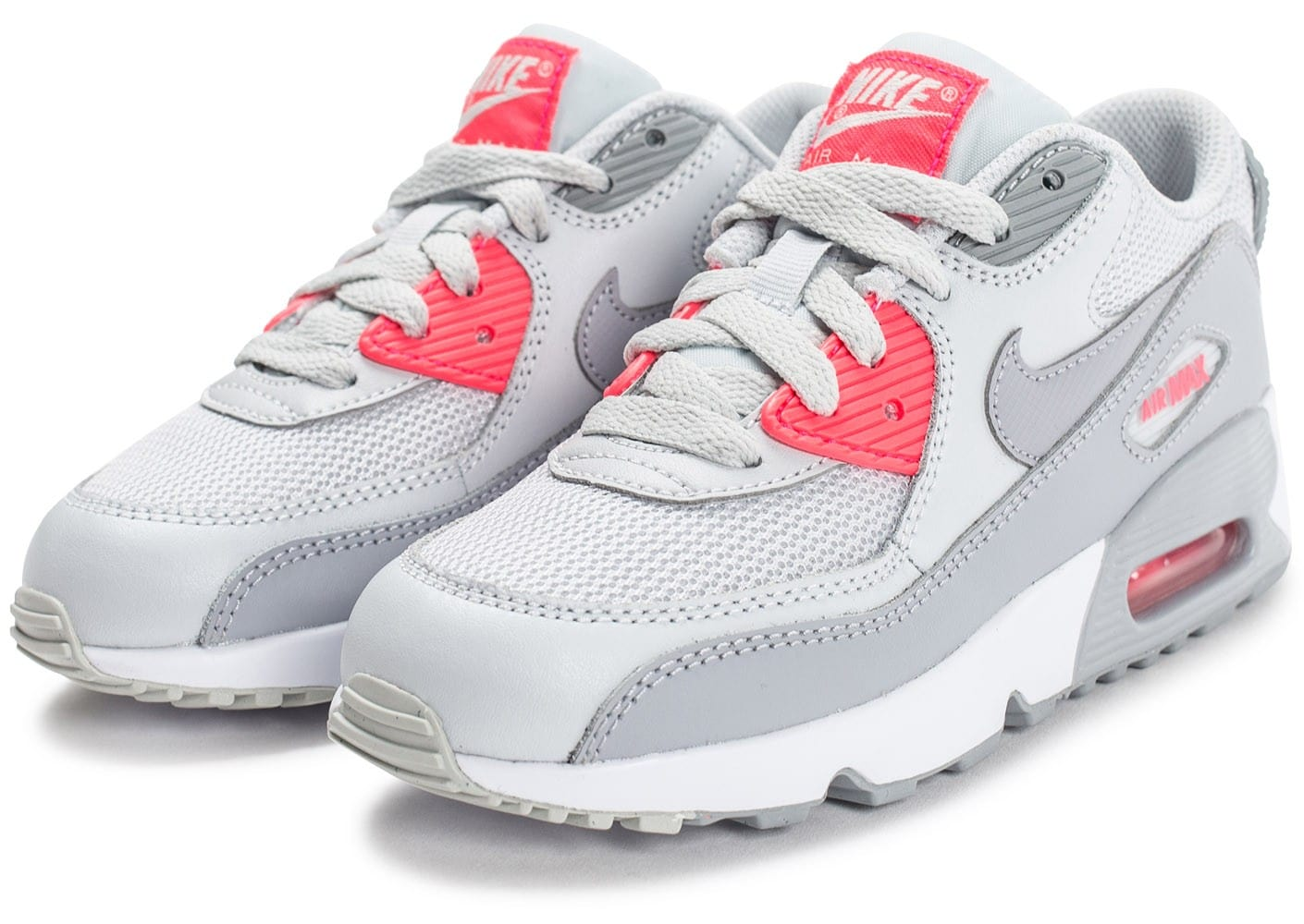nike air max 90 mesh enfant grise et rose chaussures chaussures chausport. Black Bedroom Furniture Sets. Home Design Ideas