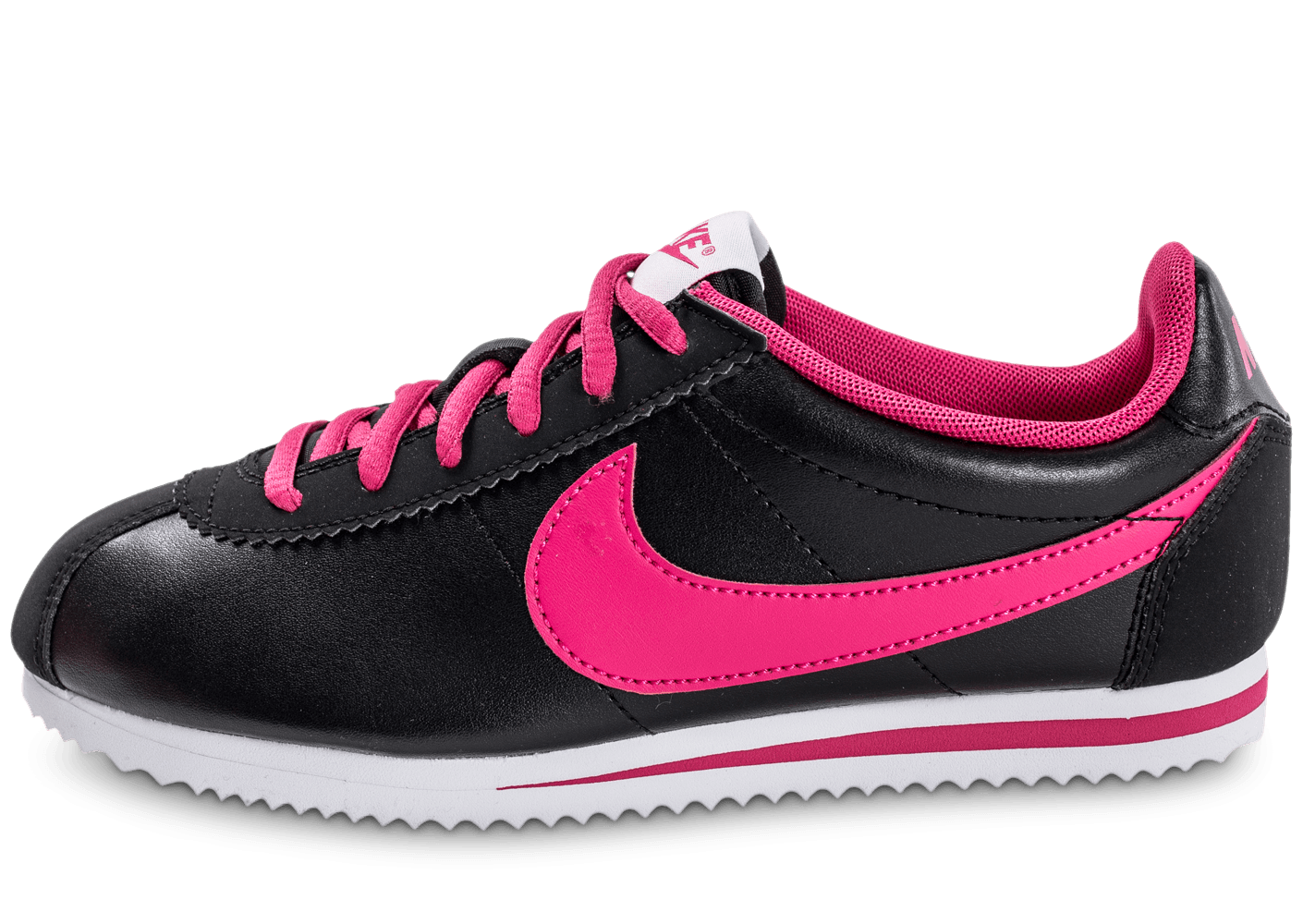 nike cortez junior cuir noire et rose chaussures black friday chausport. Black Bedroom Furniture Sets. Home Design Ideas