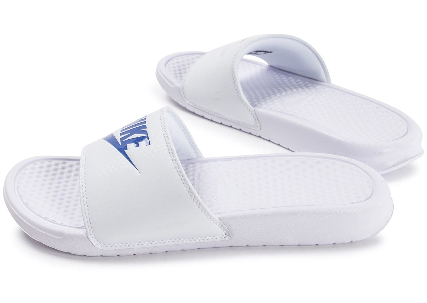 nike benassi just do it blanche et bleue chaussures homme chausport. Black Bedroom Furniture Sets. Home Design Ideas
