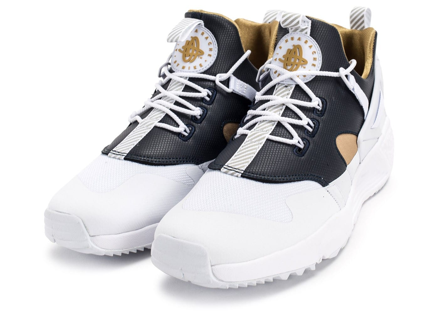 nike huarache utility premium blanche et or chaussures homme chausport. Black Bedroom Furniture Sets. Home Design Ideas