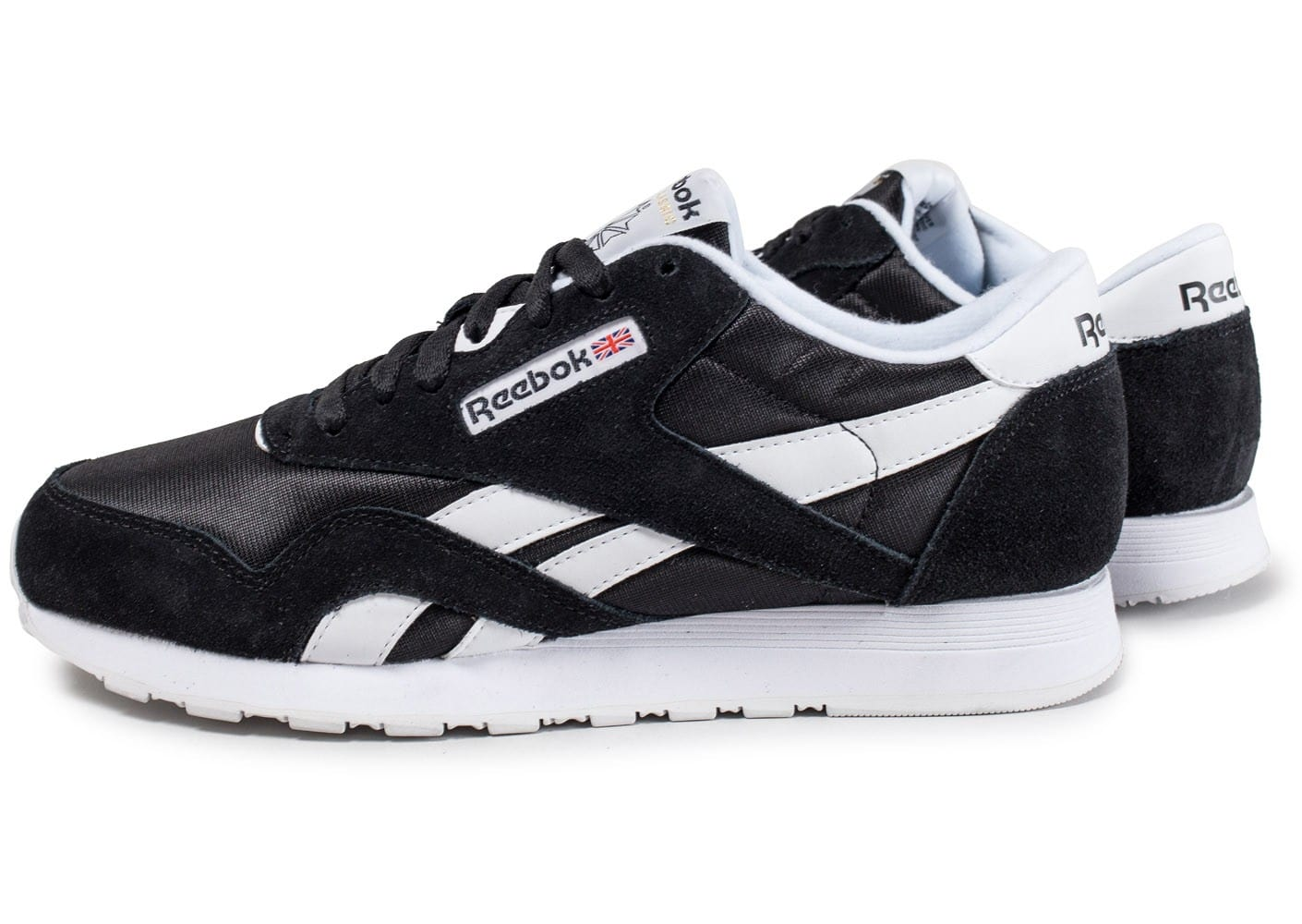 reebok classic nylon noire et blanche chaussures baskets. Black Bedroom Furniture Sets. Home Design Ideas