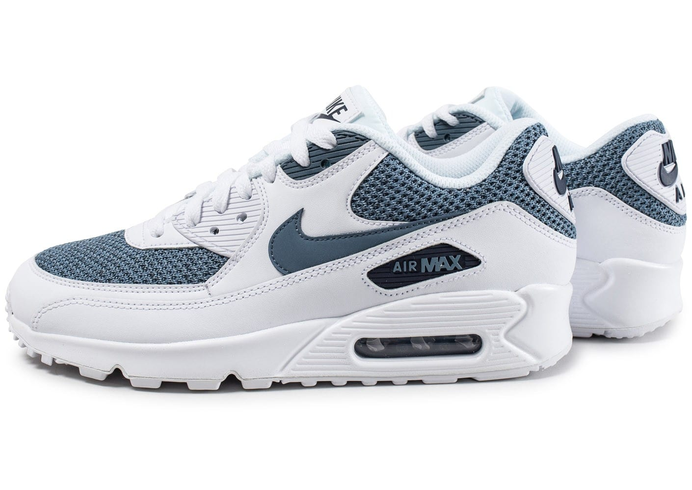 nike air max 90 essential blanche et bleue chaussures baskets homme chausport. Black Bedroom Furniture Sets. Home Design Ideas