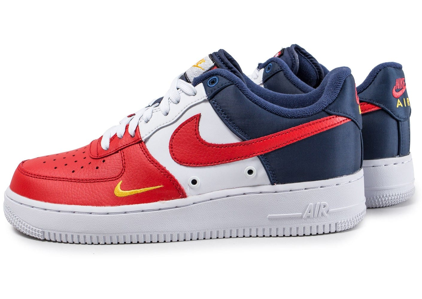 nike air force 1 39 07 lv8 mini swoosh bleu blanc rouge chaussures homme chausport. Black Bedroom Furniture Sets. Home Design Ideas