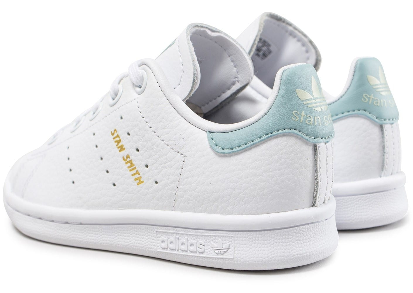 adidas stan smith enfant blanche et bleu turquoise chaussures adidas chausport. Black Bedroom Furniture Sets. Home Design Ideas