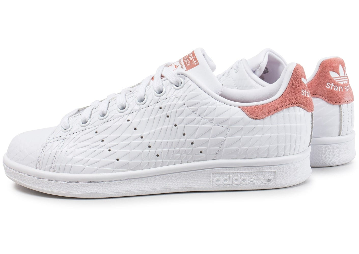adidas stan smith triangle raw blanche et rose chaussures adidas chausport. Black Bedroom Furniture Sets. Home Design Ideas