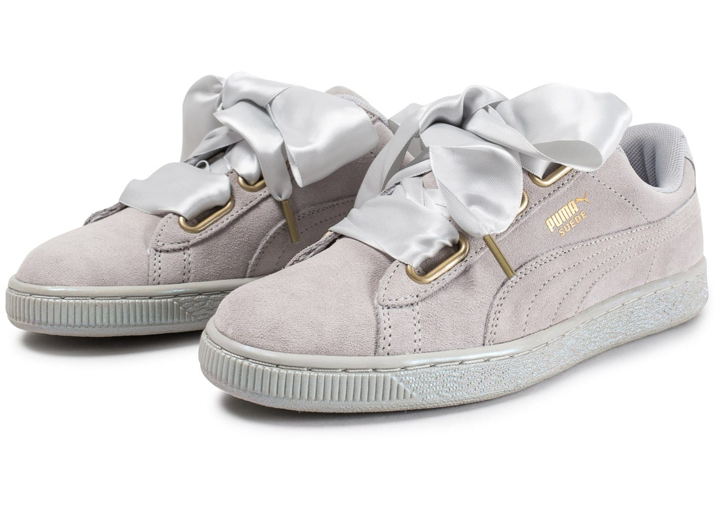 puma grise suede heart