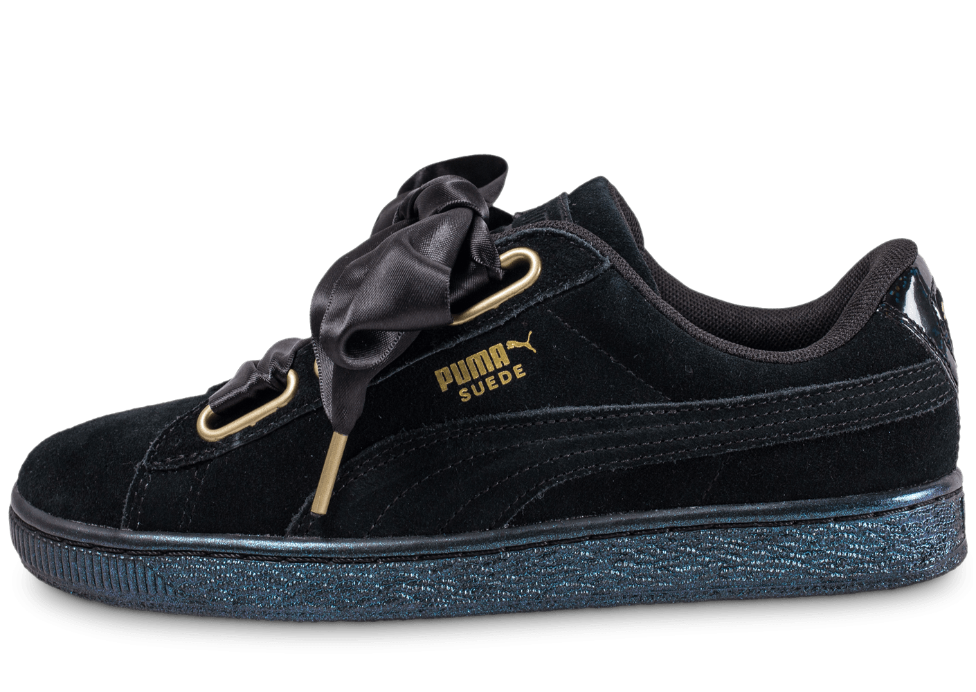 puma suede heart satin noire chaussures black friday chausport. Black Bedroom Furniture Sets. Home Design Ideas