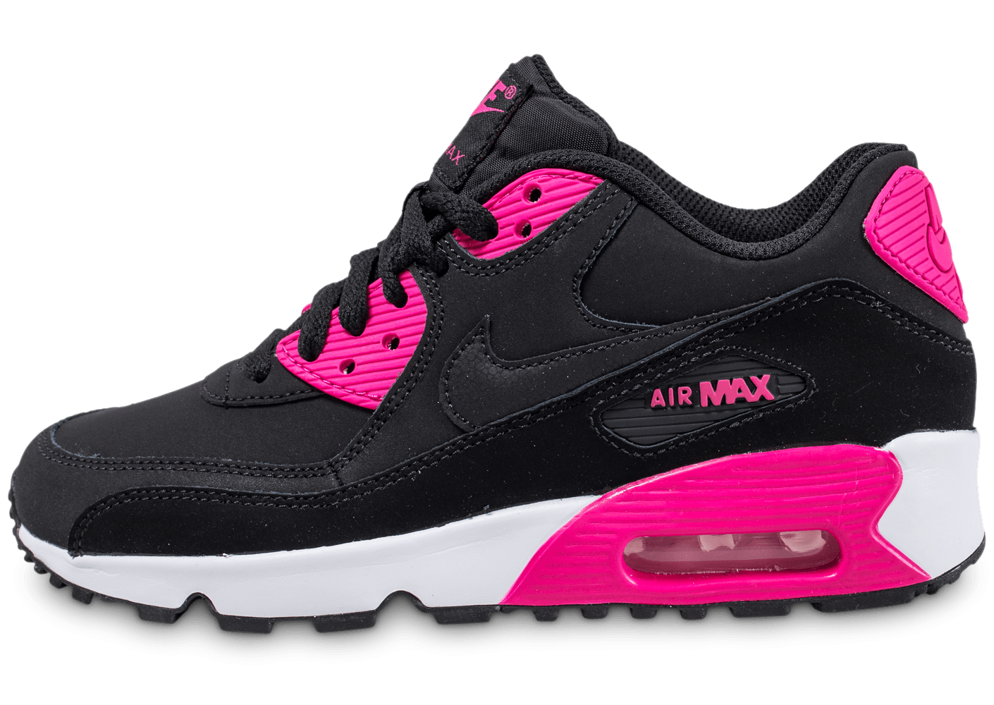 nike air max 90 ltr junior noire et rose chaussures enfant chausport. Black Bedroom Furniture Sets. Home Design Ideas
