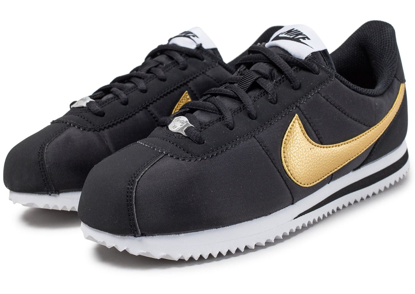 nike cortez basic junior noire et or chaussures black friday chausport. Black Bedroom Furniture Sets. Home Design Ideas