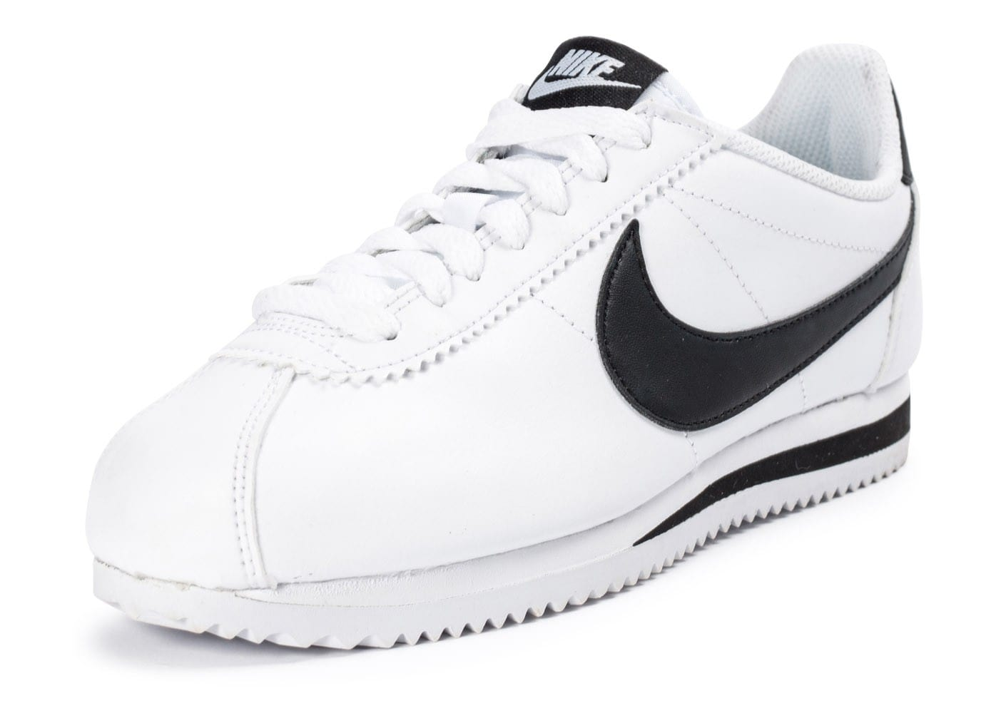 nike classic cortez leather blanche et noire chaussures toutes les baskets sold es chausport. Black Bedroom Furniture Sets. Home Design Ideas