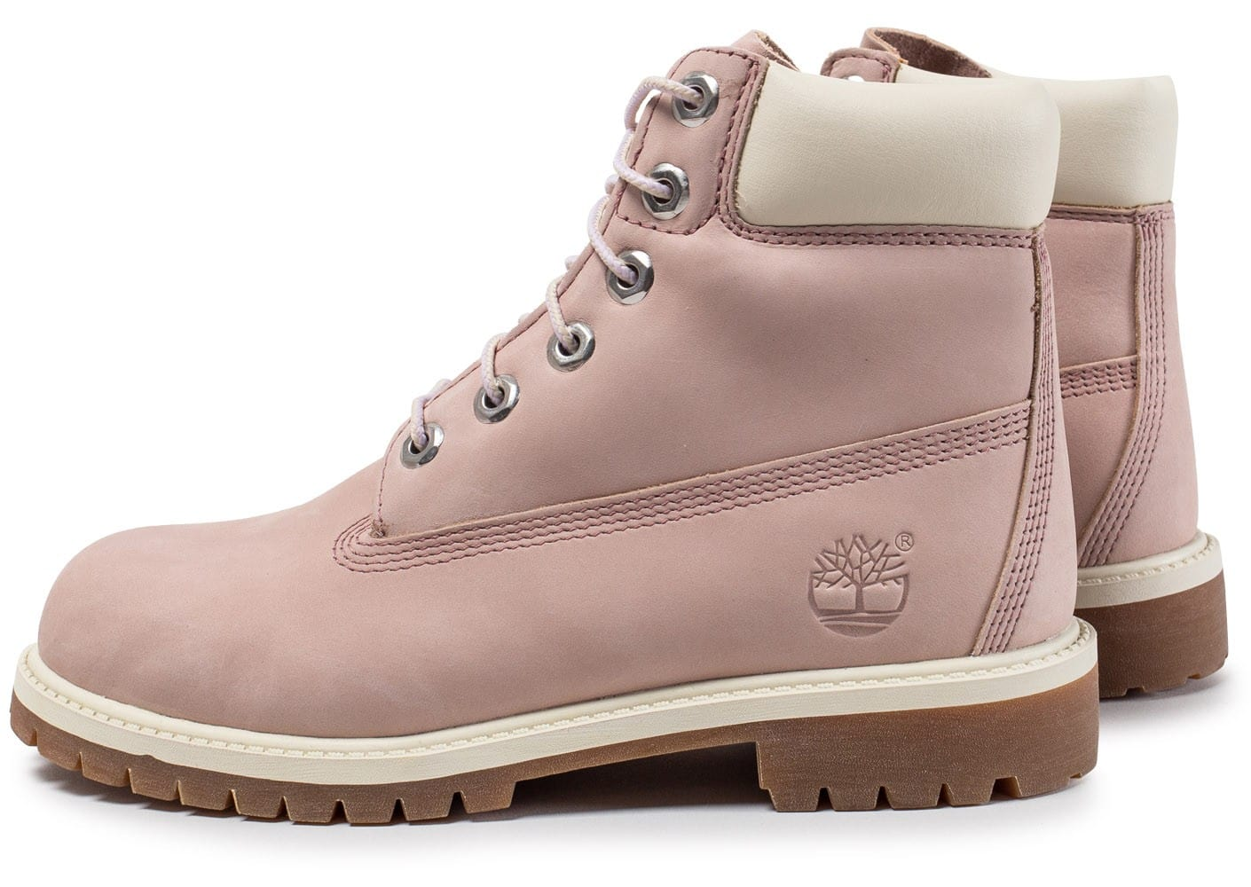 timberland 6 inch premium boots junior rose et blanche chaussures femme chausport. Black Bedroom Furniture Sets. Home Design Ideas