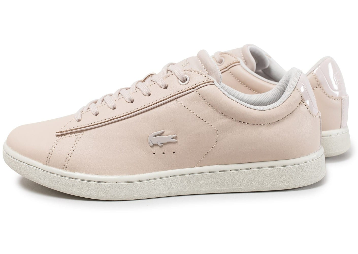Lacoste carnaby evo 417 w rose chaussures femme chausport - Lacoste carnaby evo cls baskets en cuir perfore ...