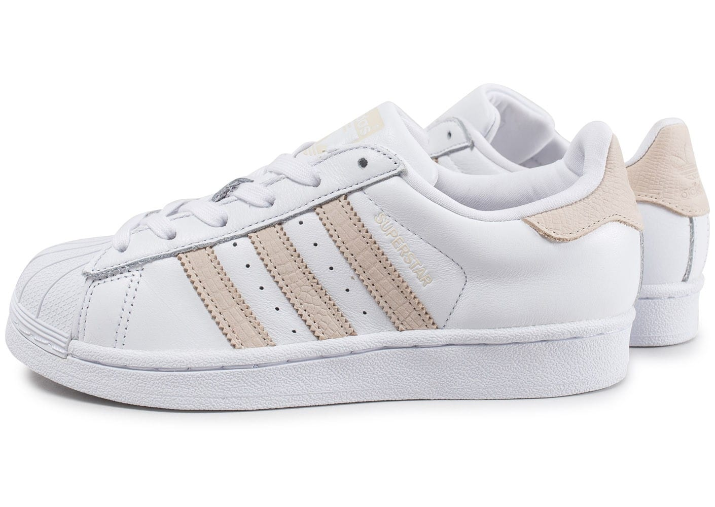 adidas superstar w blanche et rose chaussures adidas chausport. Black Bedroom Furniture Sets. Home Design Ideas