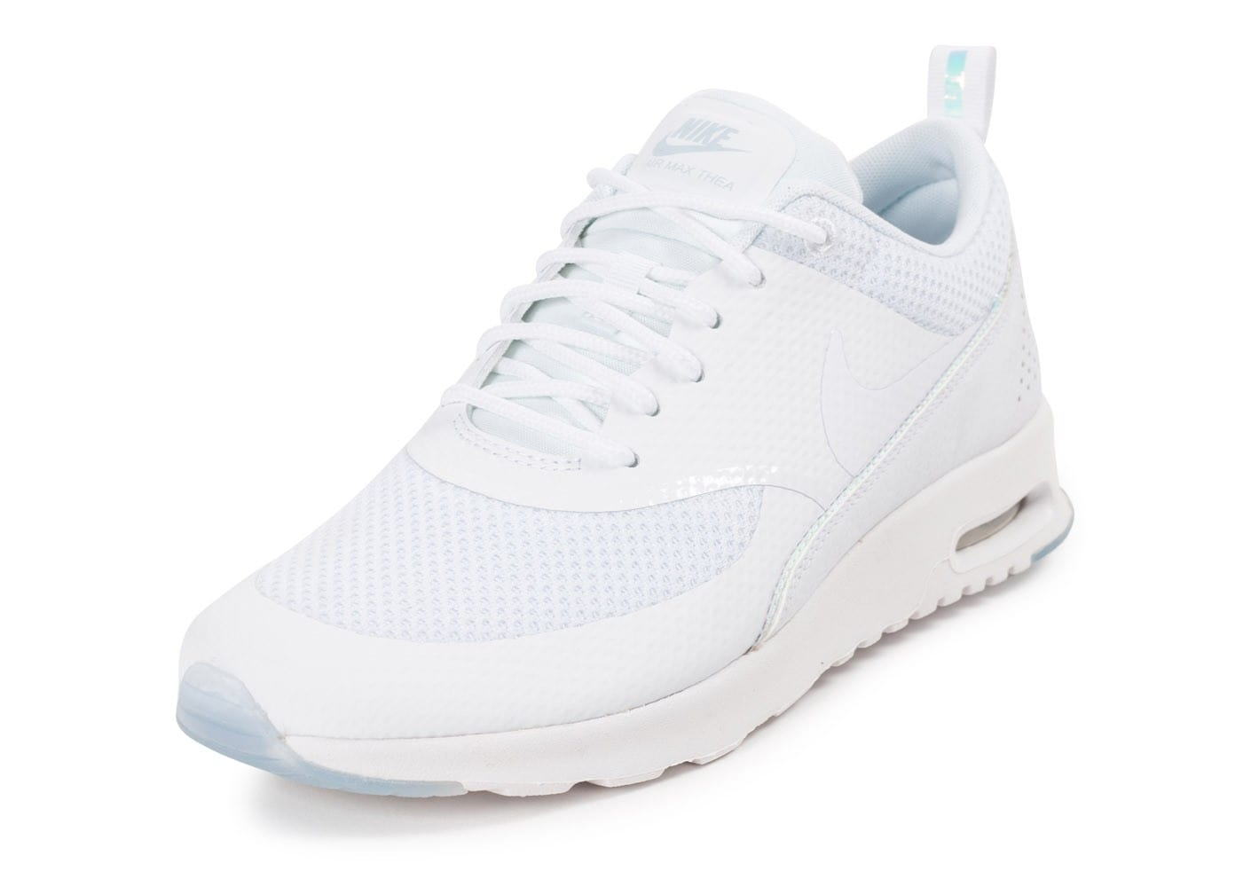 newest 182c1 6692f chaussures nike air max thea prm blanche iridescente vue avant