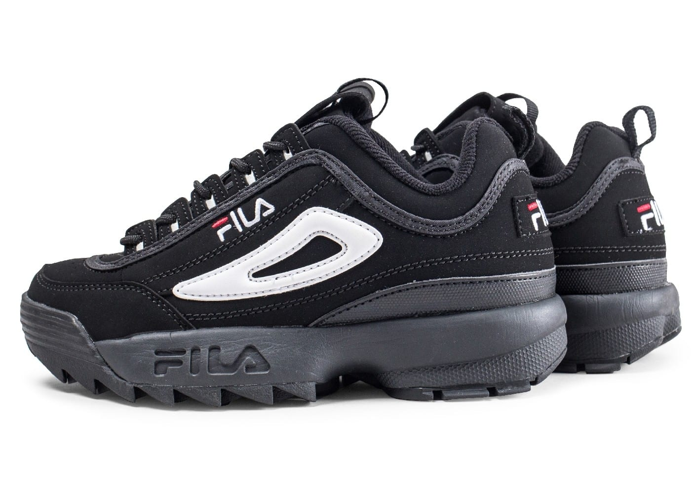 fila disruptor ii junior noire et blanche chaussures femme chausport. Black Bedroom Furniture Sets. Home Design Ideas