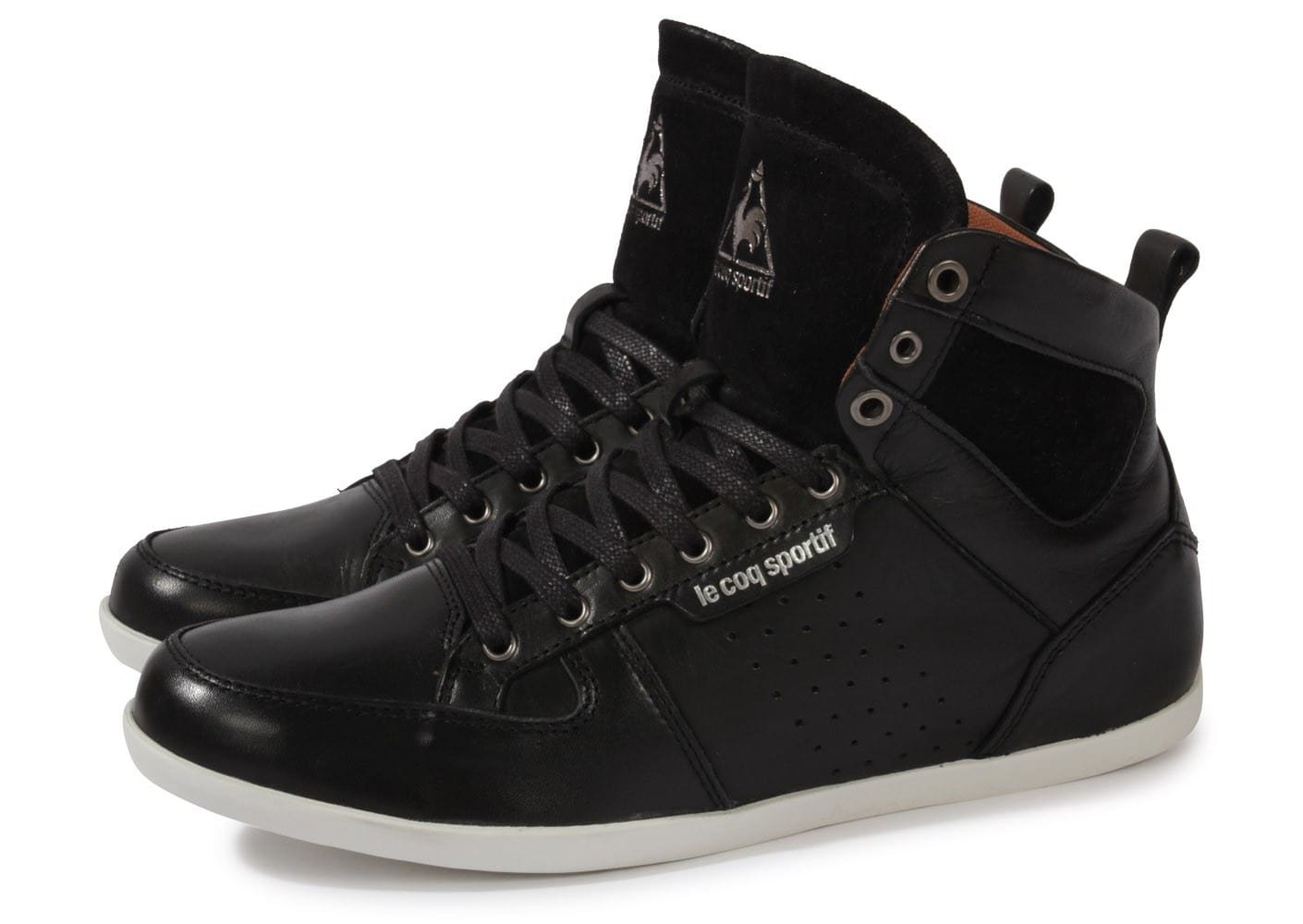 le coq sportif bizot hi cuir noir chaussures homme chausport. Black Bedroom Furniture Sets. Home Design Ideas