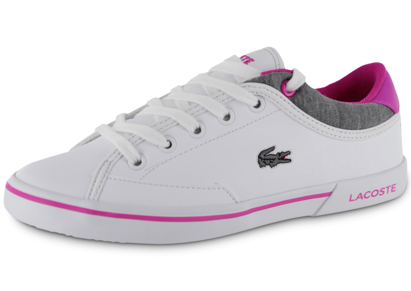 lacoste angha enfant blanc rose chaussures chaussures chausport. Black Bedroom Furniture Sets. Home Design Ideas