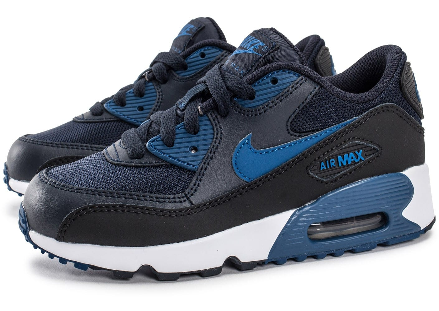 nike air max 90 mesh enfant bleu marine chaussures enfant chausport. Black Bedroom Furniture Sets. Home Design Ideas