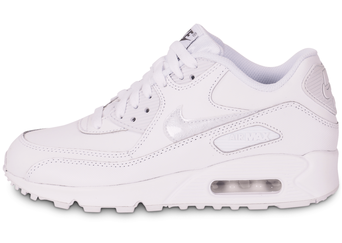 detailed look ccc35 5eb5f ... chaussures nike air max 90 ltr junior blanche vue exterieure